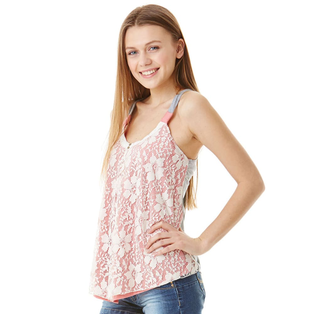 JOLT Juniors' Lace Overlay Swing Tank - CORAL