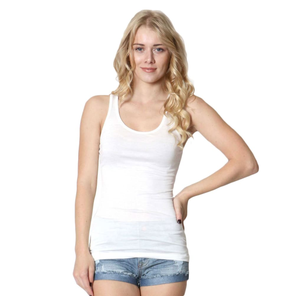 ZENANA Juniors' Double Scoop Tank Top - BLOWOUT - IVORY