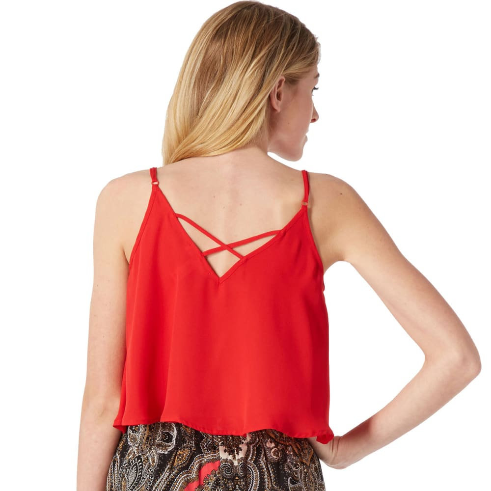 AMBIANCE Juniors' Crisscross Back Woven Tank - BRIGHT CRIMSON