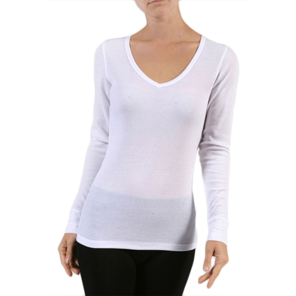ACTIVE USA Juniors' V-Neck Thermal Tee - WHITE