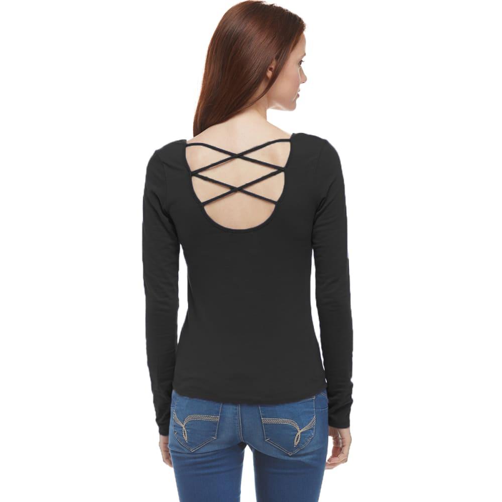 ACTIVE BASIC Juniors' Criss-Cross Back Long Sleeve Shirt - BLACK
