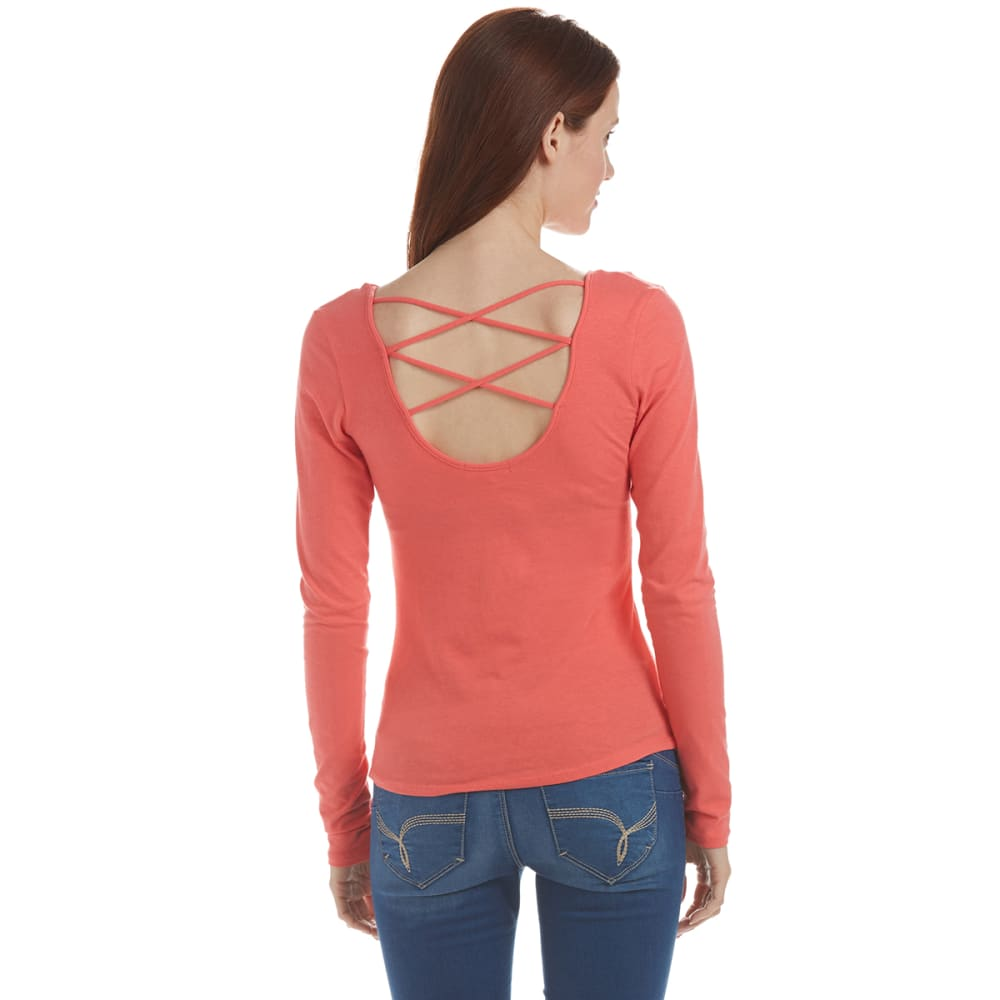 ACTIVE BASIC Juniors' Criss-Cross Back Long Sleeve Shirt - CORAL