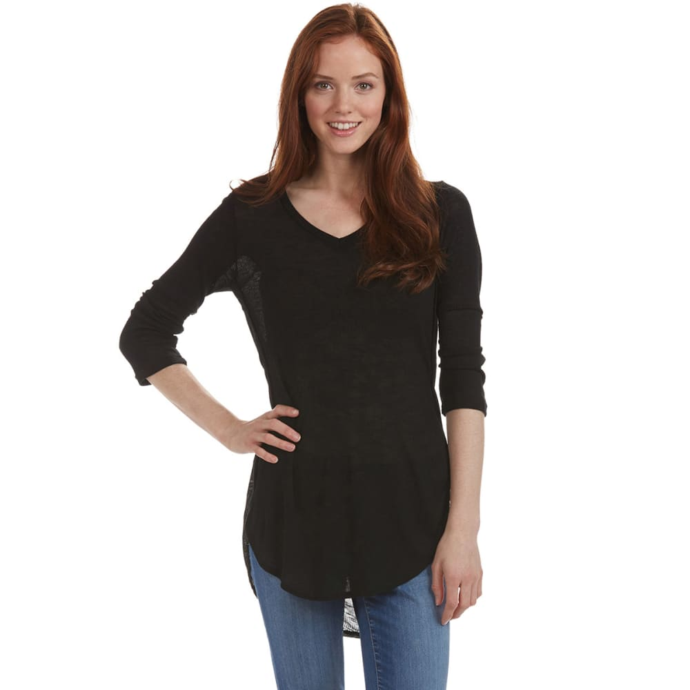 POOF Juniors' ¾ Sleeve Ribbed Shirt - BLACK