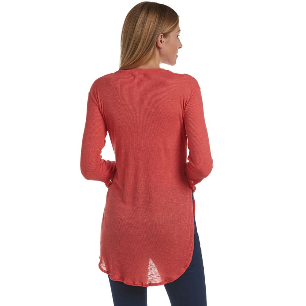 POOF Juniors' ¾ Sleeve Ribbed Shirt - RED