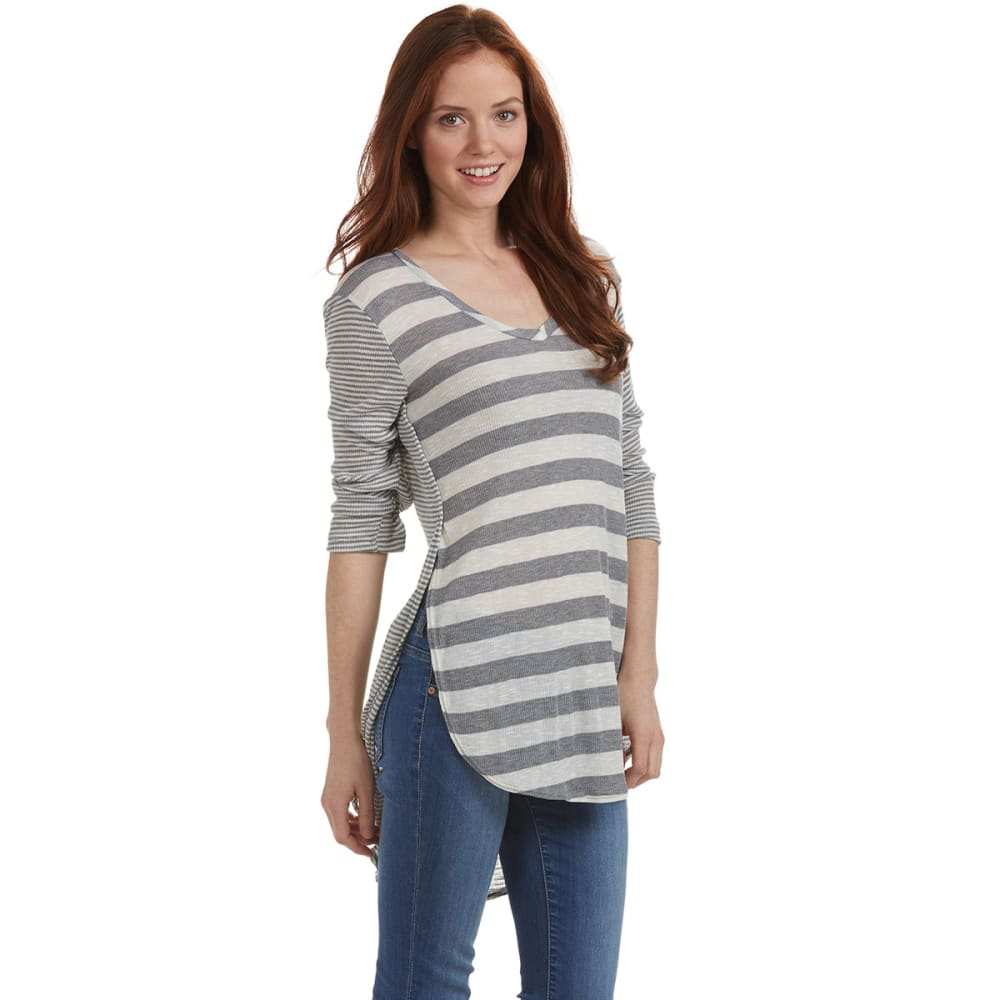 POOF Juniors' ¾ Sleeve Striped Ribbed Shirt - HEATHER GREY