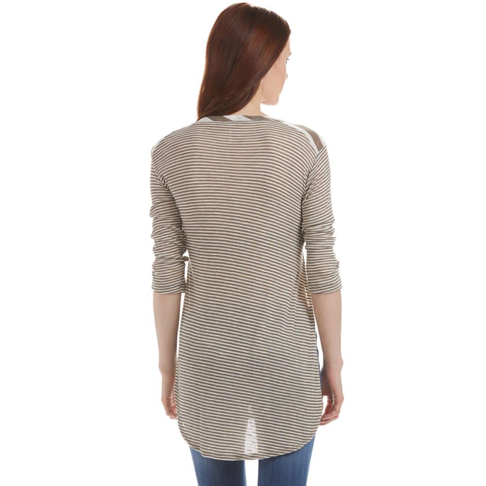 POOF Juniors' ¾ Sleeve Striped Ribbed Shirt - MUSHROOM GREY