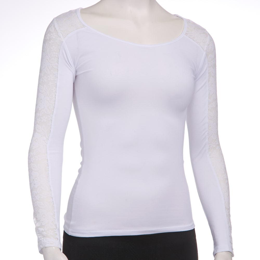 AMBIANCE Juniors' Lace Long-Sleeve Tee - WHITE
