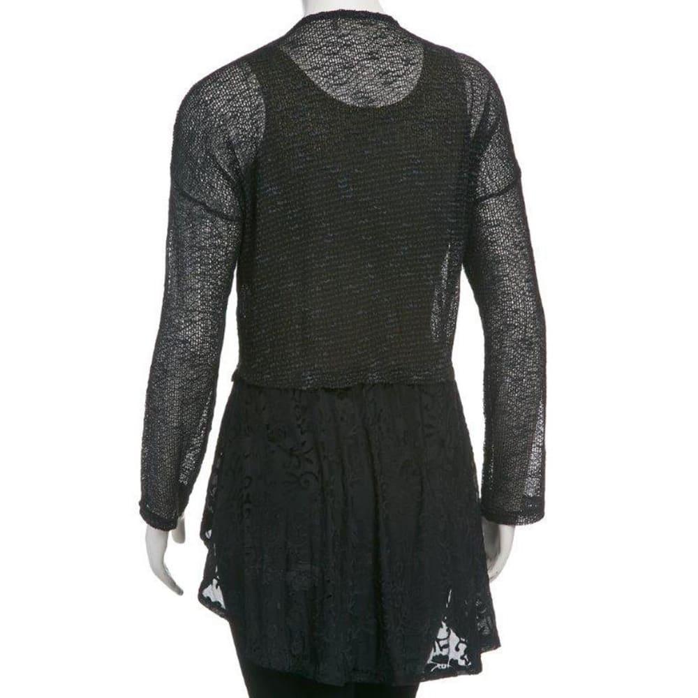TAYLOR & SAGE Juniors' Lace Cardigan - BLACK/NEPTUNE