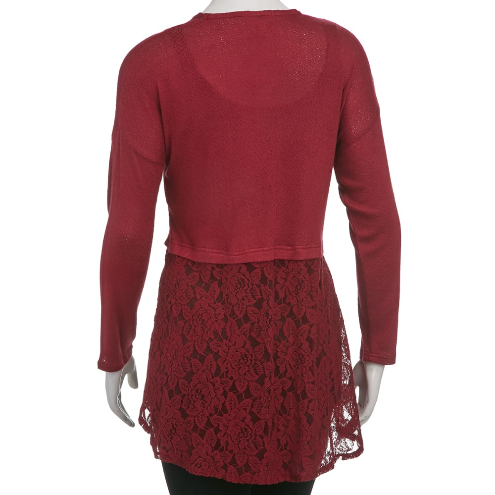 TAYLOR & SAGE Juniors' Lace Cardigan - BURGUNDY
