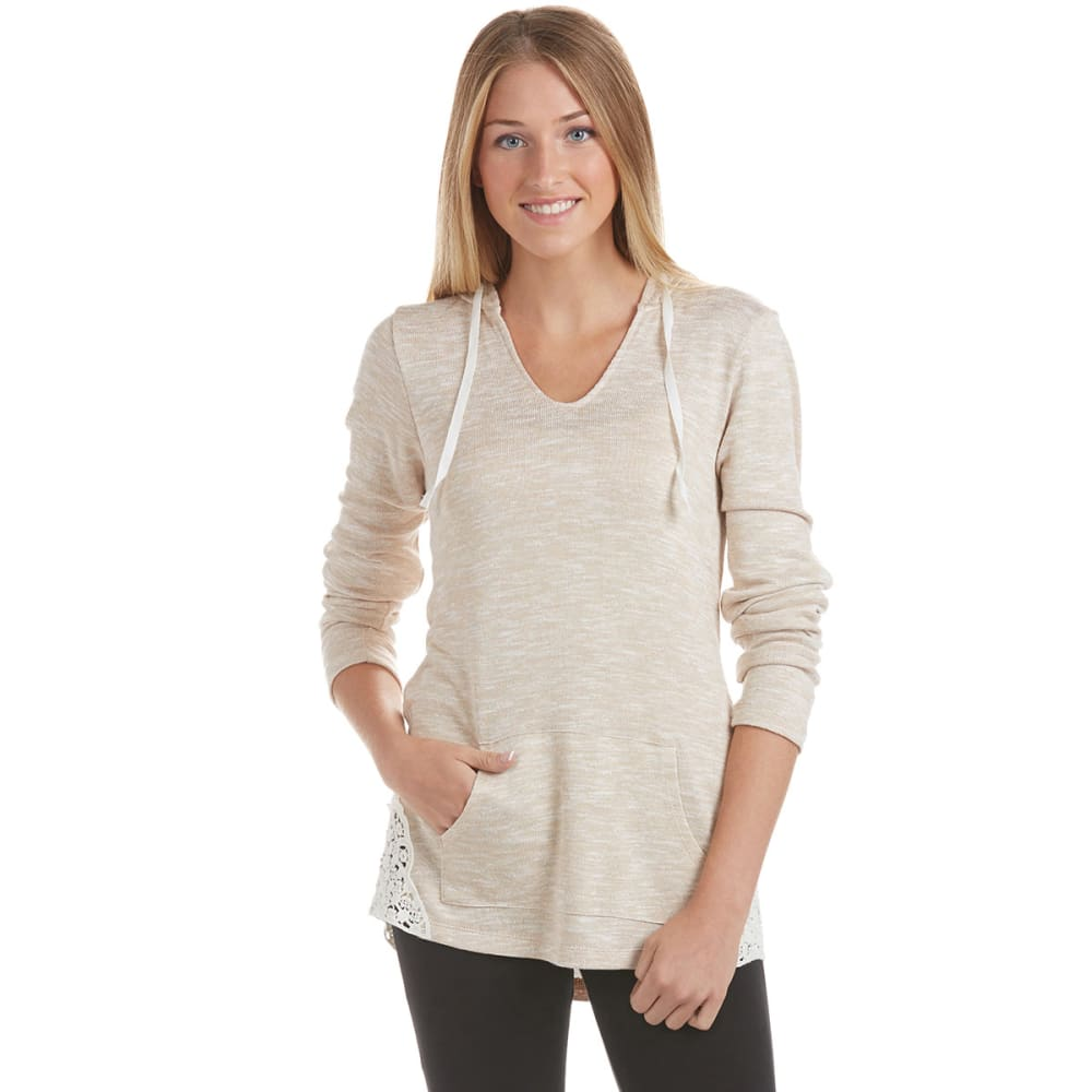 MISCHEVIOUS Juniors' Hacci V-neck Hoodie with Crochet Sides - TAN