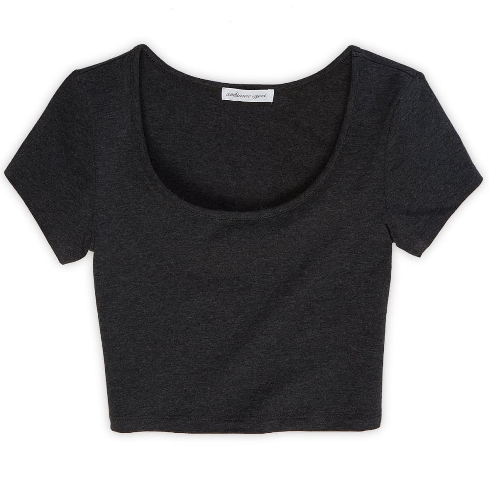 AMBIANCE Juniors' Crop Tee - CHARCOAL