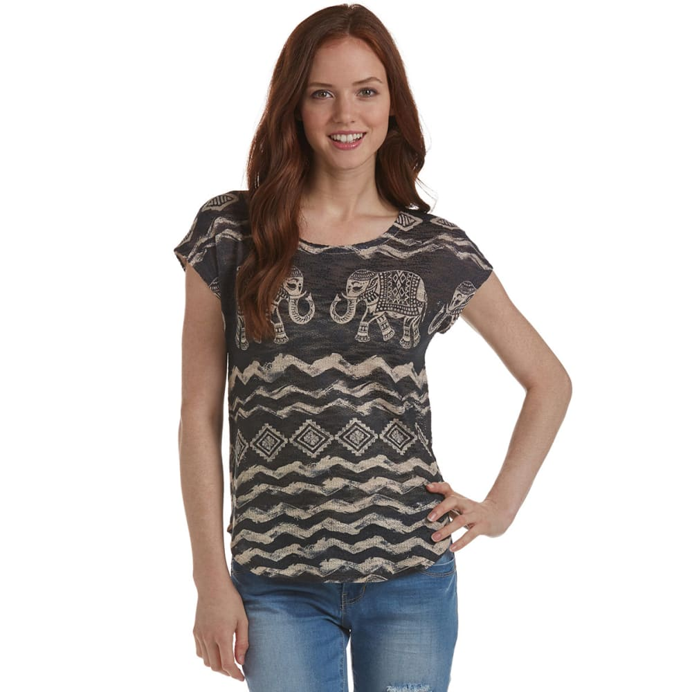 GINGER G Juniors' Sublimation Tee - TAUPE/BLACK