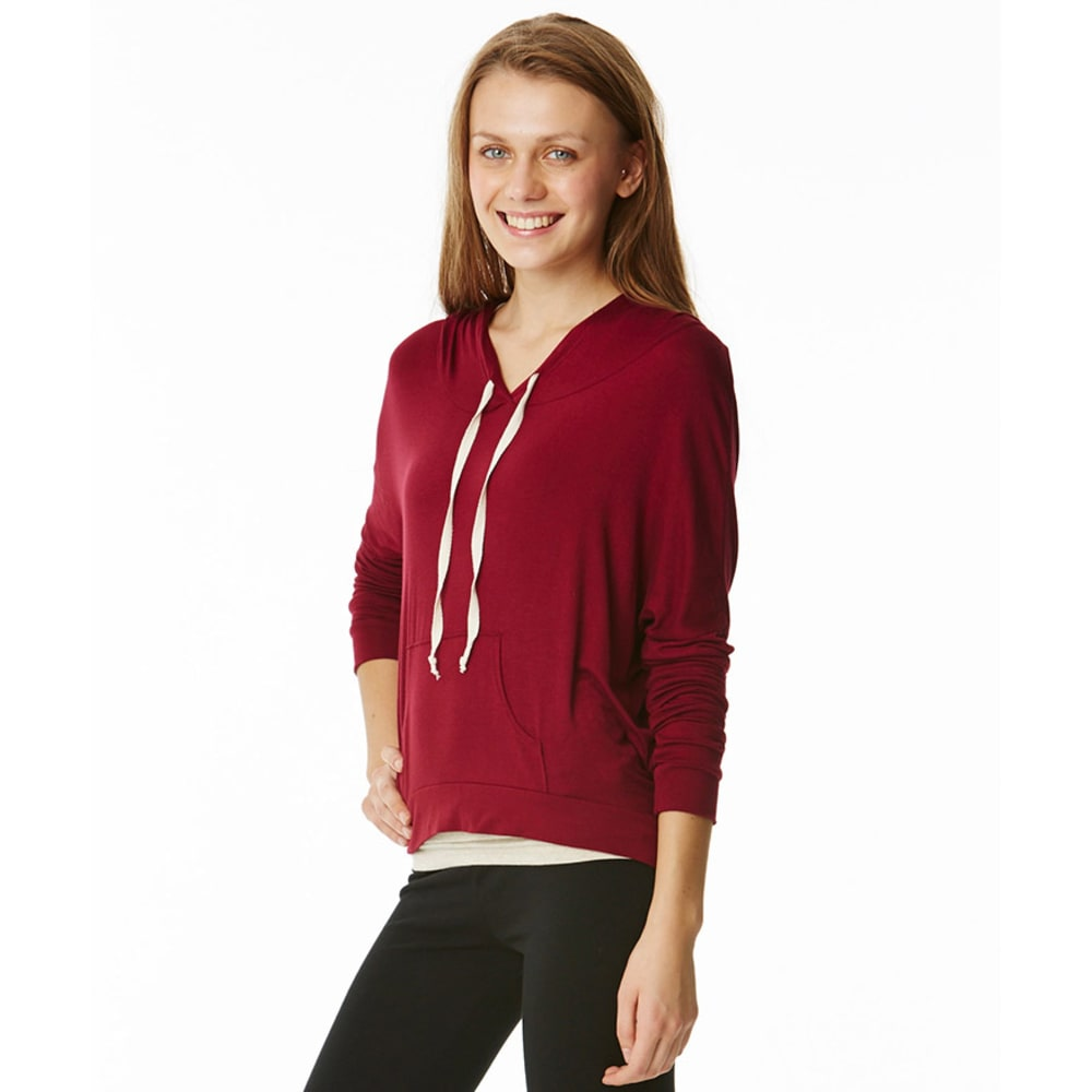 GINGER G Juniors' Hi-Lo Hoodie - BRIGHT CRIMSON