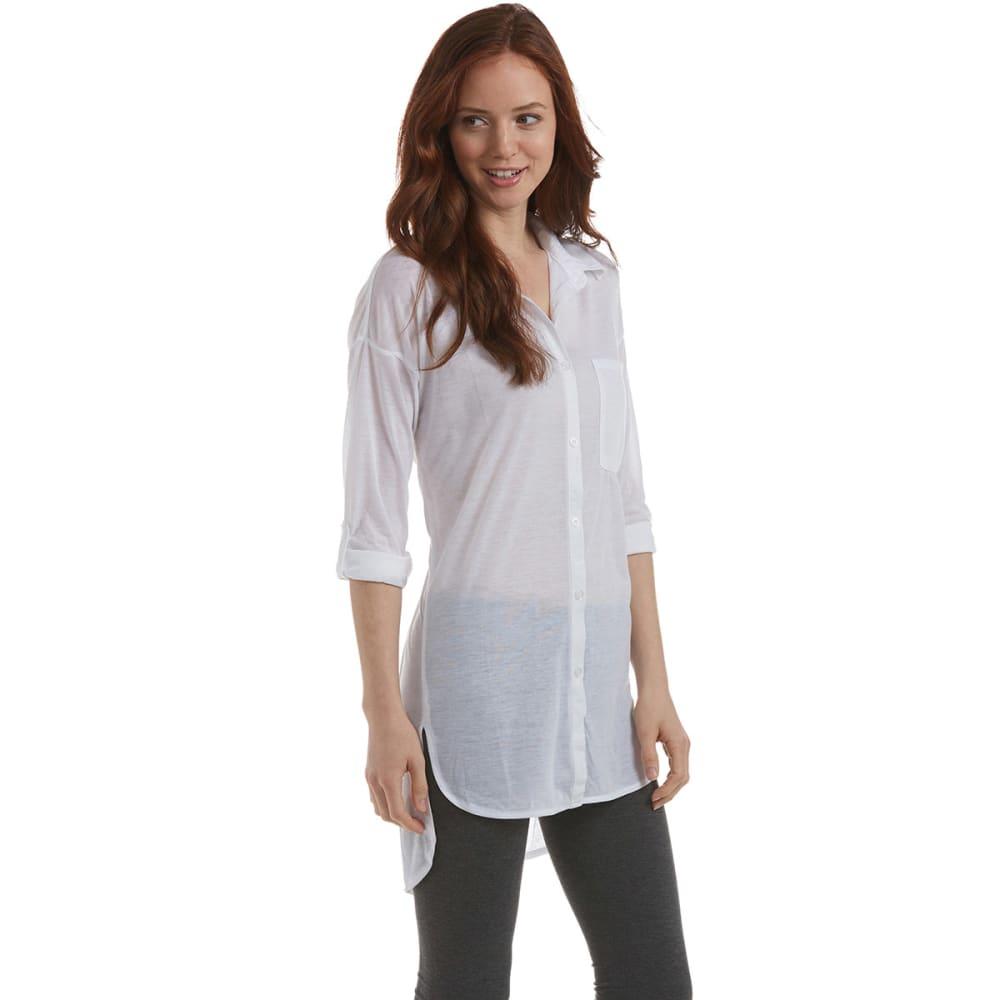 ALMOST FAMOUS Juniors' Boyfriend Button-Down Roll Sleeve Shirt - WHITE