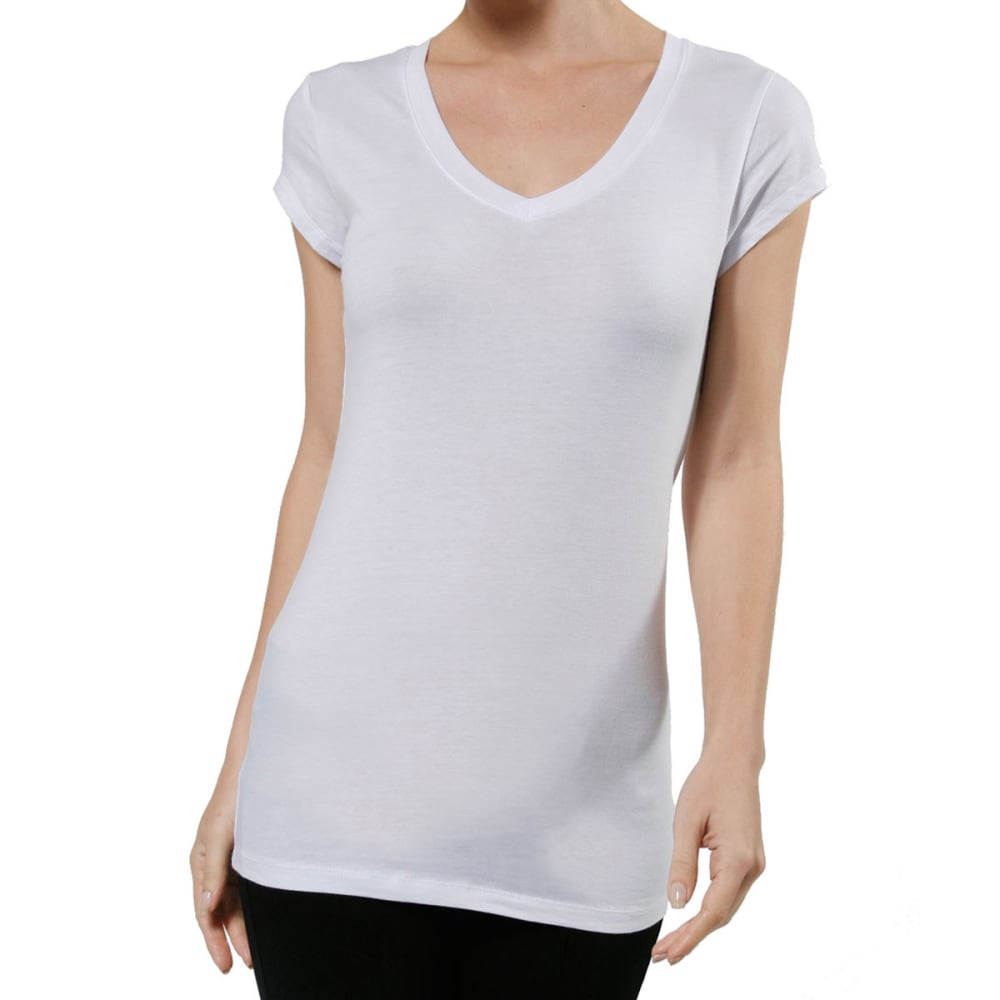 ACTIVE BASIC Juniors' V-Neck Tee - BLOWOUT - WHITE