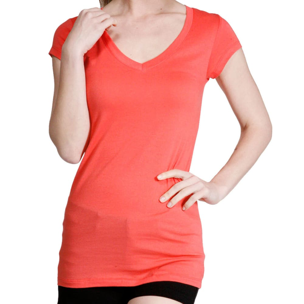 ACTIVE BASIC Juniors' V-Neck Tee - BLOWOUT - CORAL