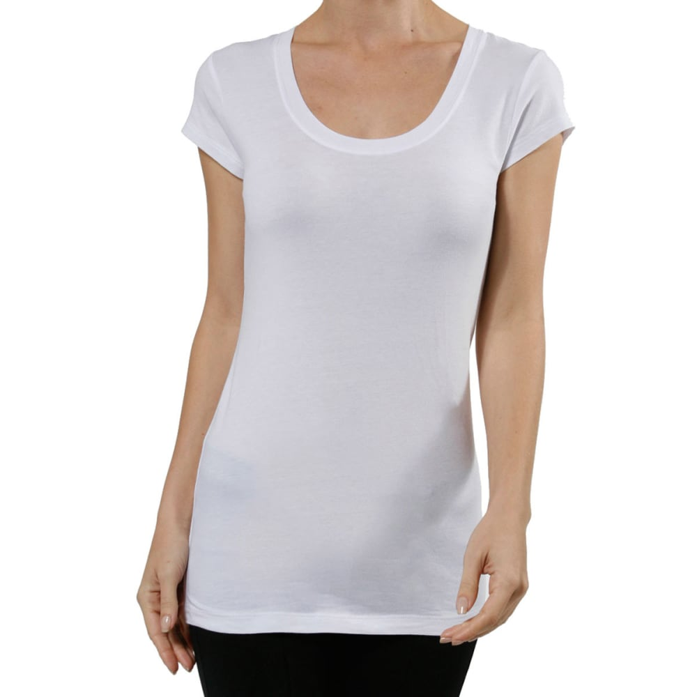 ACTIVE BASIC Juniors' Scoop Neck Tee - BLOWOUT - WHITE