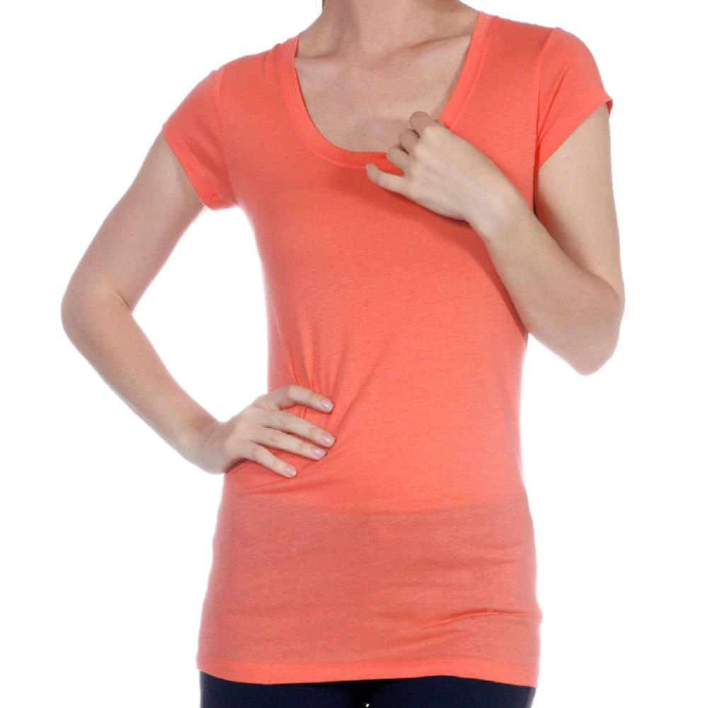 ACTIVE BASIC Juniors' Scoop Neck Tee - BLOWOUT - CORAL