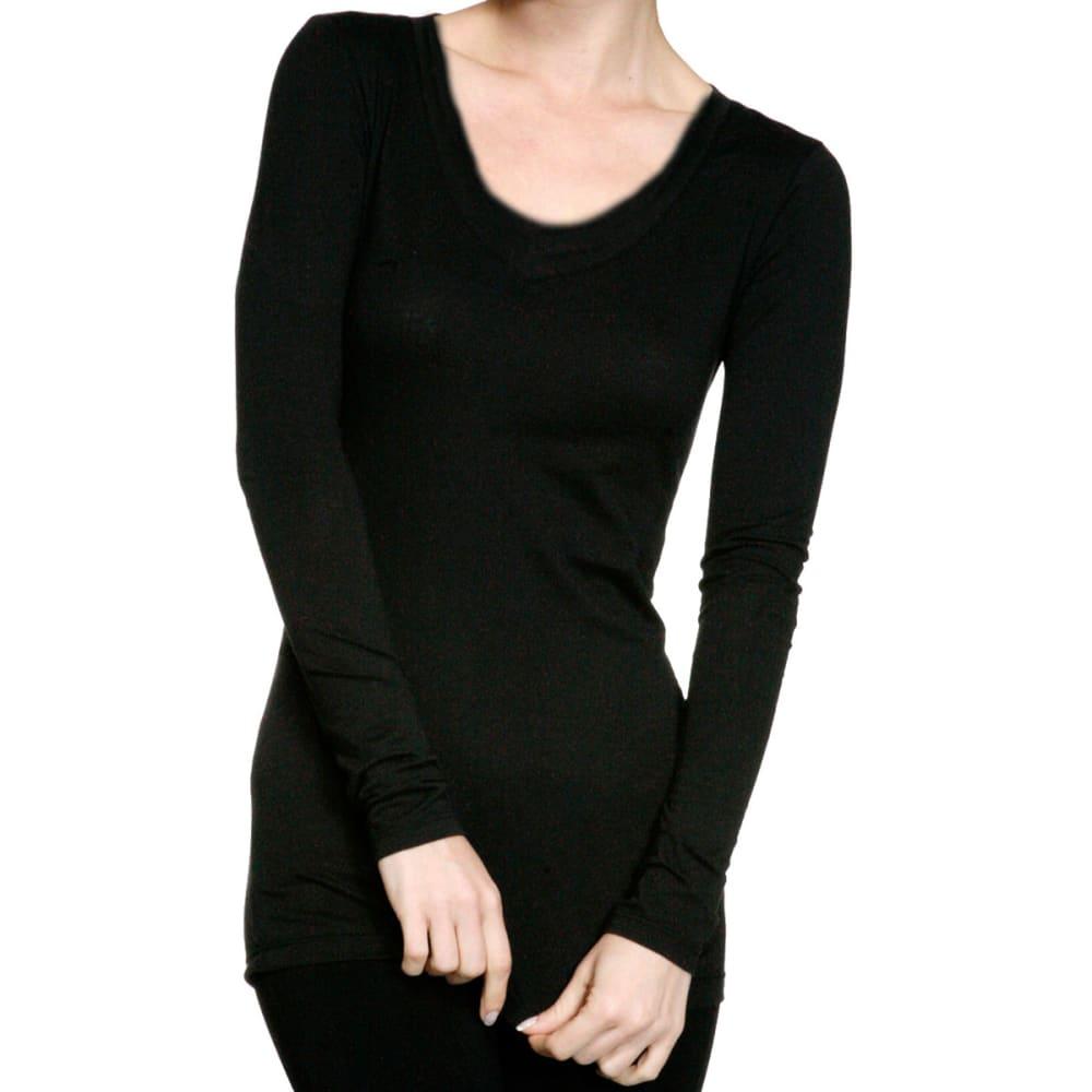 ACTIVE BASIC Juniors' Scoop Neck Long-Sleeved Tee - BLACK