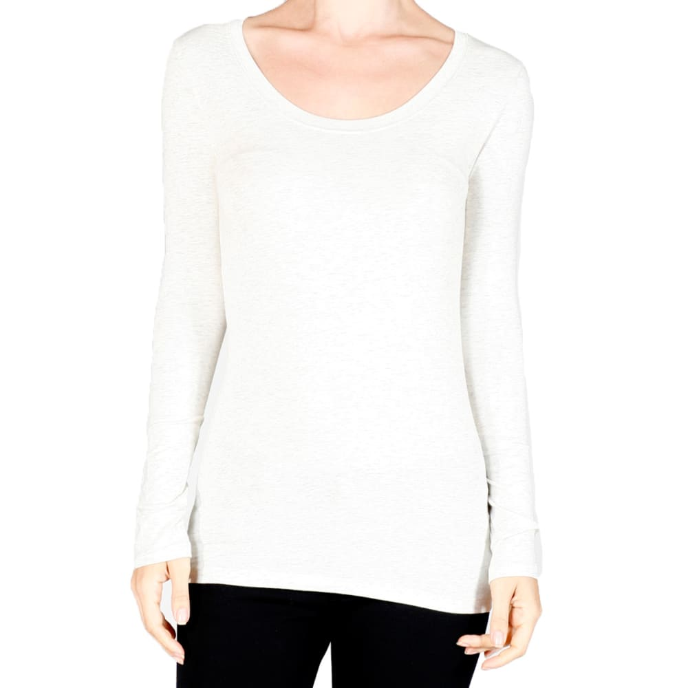 ACTIVE BASIC Juniors' Scoop Neck Long-Sleeved Tee - WHITE/PERIWINKLE