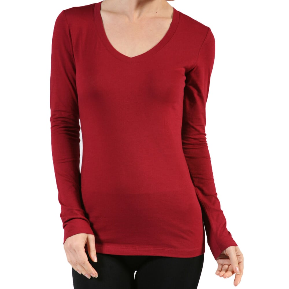 ACTIVE BASIC Juniors' V-Neck Long-Sleeved Tee - WINE