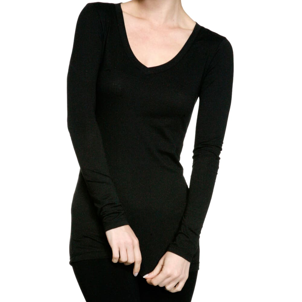 ACTIVE BASIC Juniors' V-Neck Long Sleeve Tee - BLACK