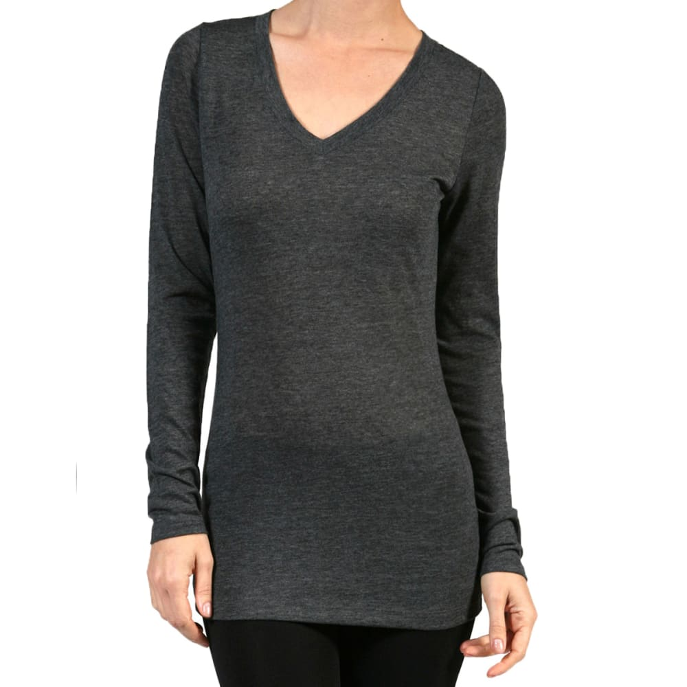 ACTIVE BASIC Juniors' V-Neck Long-Sleeved Tee - CHARCOAL