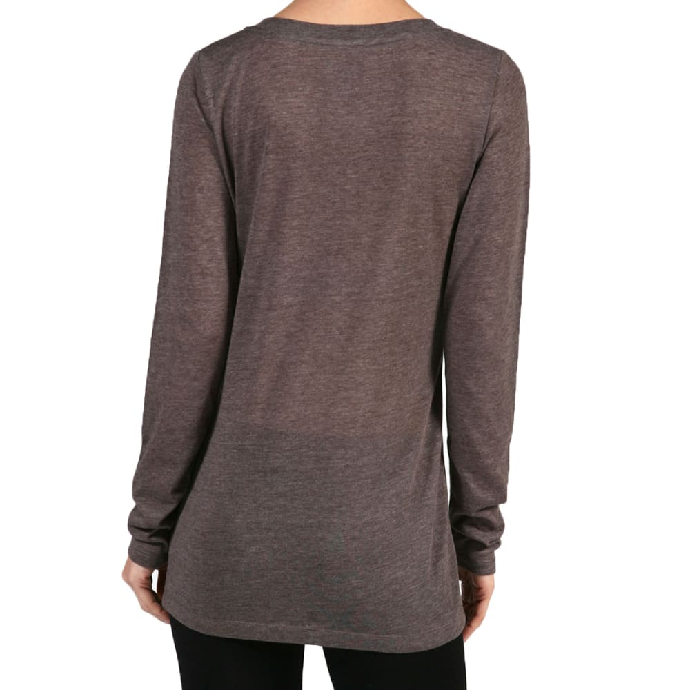 ACTIVE BASIC Juniors' V-Neck Long-Sleeved Tee - COFFEE