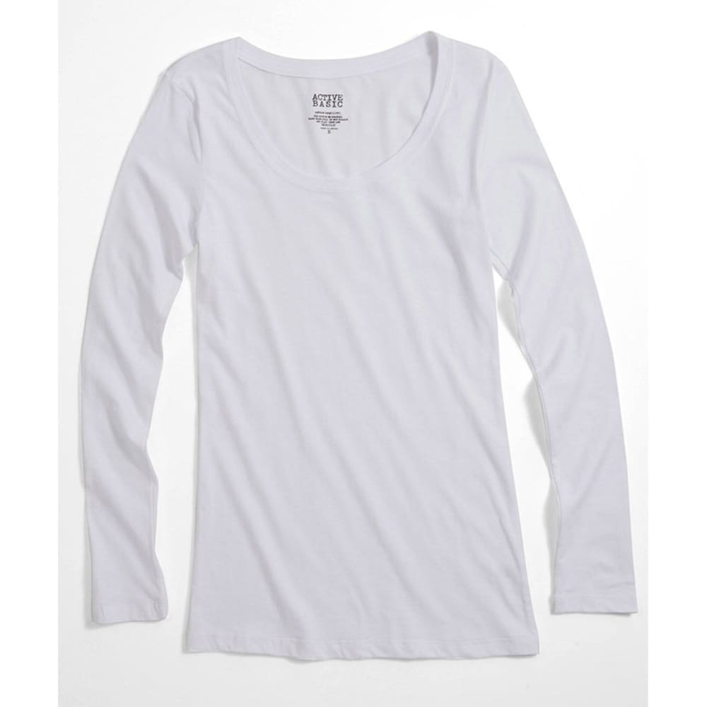 ACTIVE BASIC Juniors' Basic Scoop Neck Tee - BLOWOUT - WHITE