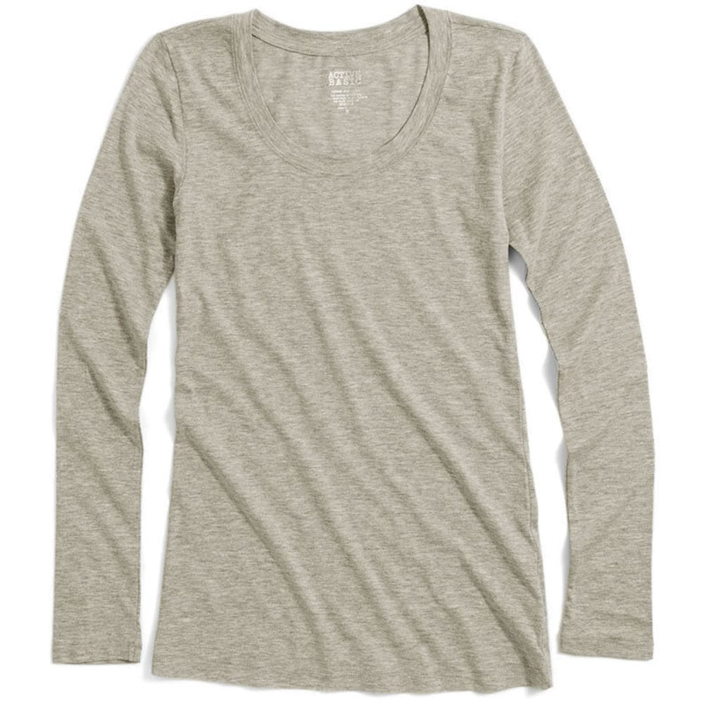 ACTIVE BASIC Juniors' Basic Scoop Neck Tee - BLOWOUT - OATMEAL