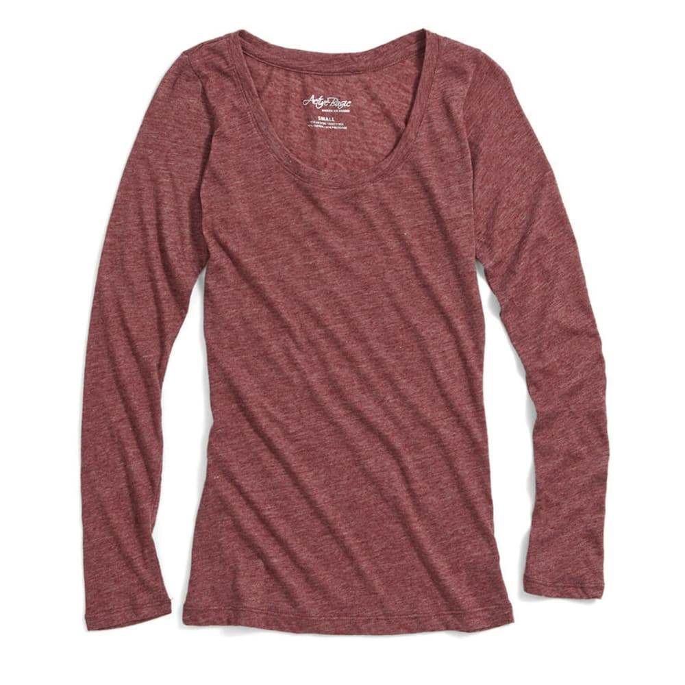 ACTIVE BASIC Juniors' Basic Scoop Neck Tee -   BLOWOUT - BURGUNDY