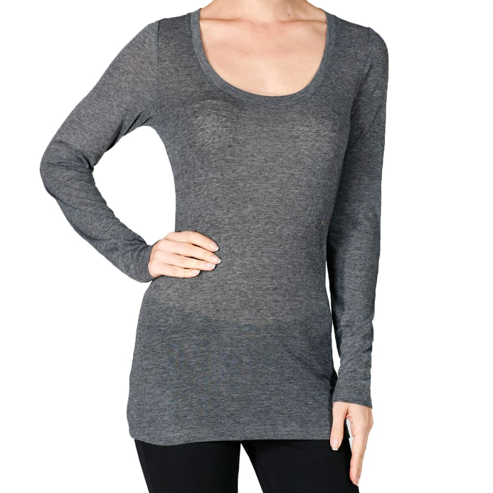 ACTIVE BASIC Juniors' Scoop Heather Long-Sleeved Tee - HEATHER CHARCOAL
