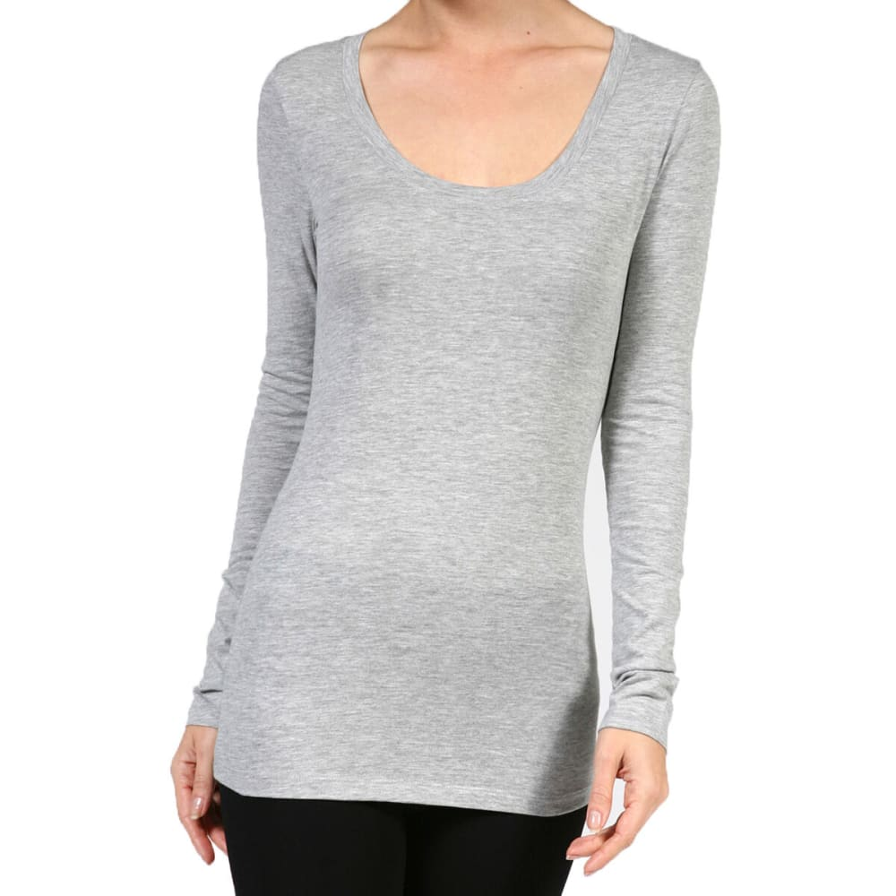 ACTIVE BASIC Juniors' Scoop Neck Long-Sleeved Tee - DARK GREY/SOLAR YELL