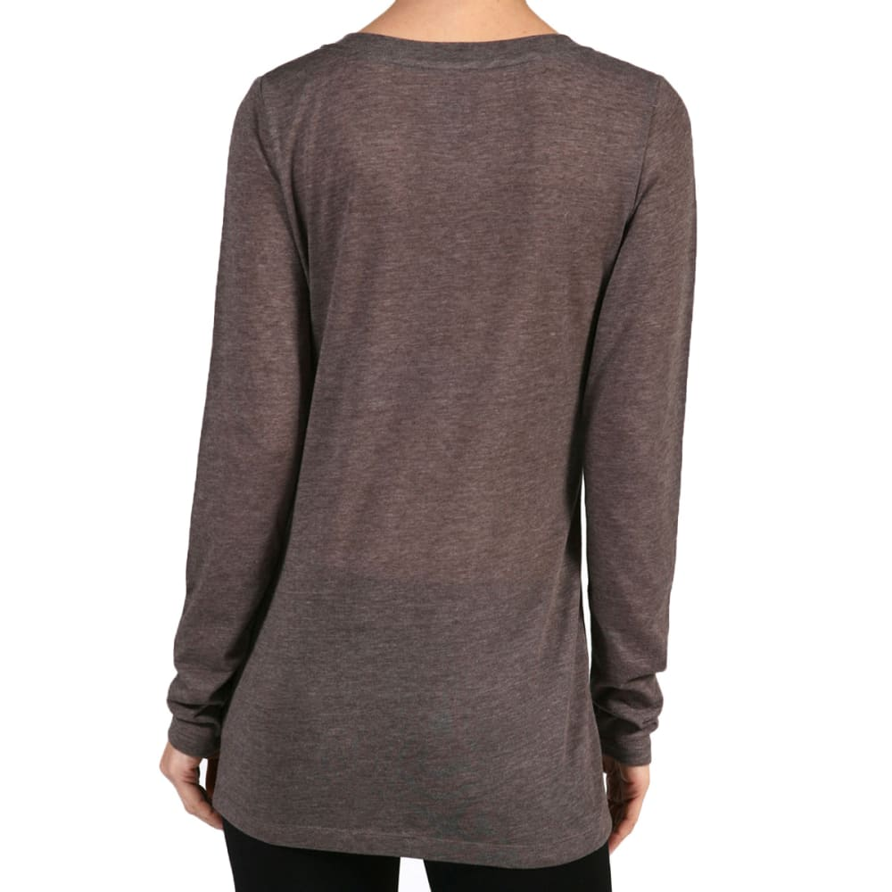 ACTIVE BASIC Juniors' V-Neck Heather Long-Sleeved Tee - COFFEE