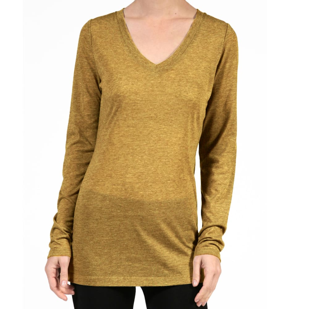 ACTIVE BASIC Juniors' V-Neck Heather Long-Sleeved Tee - HEATHER GOLD