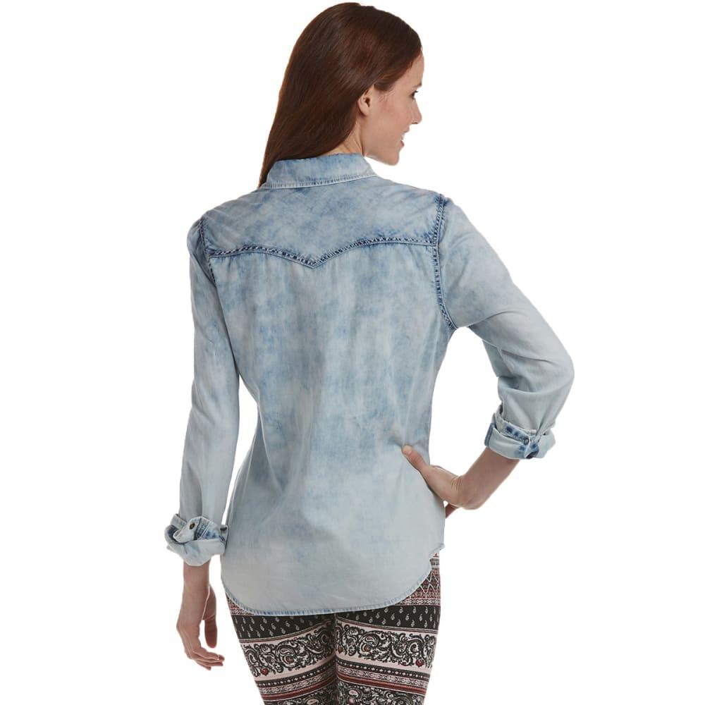 VANILLA STAR Juniors' Denim Shirt - ACID WASH