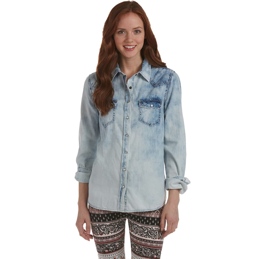 VANILLA STAR Juniors' Denim Shirt - ACID WASH