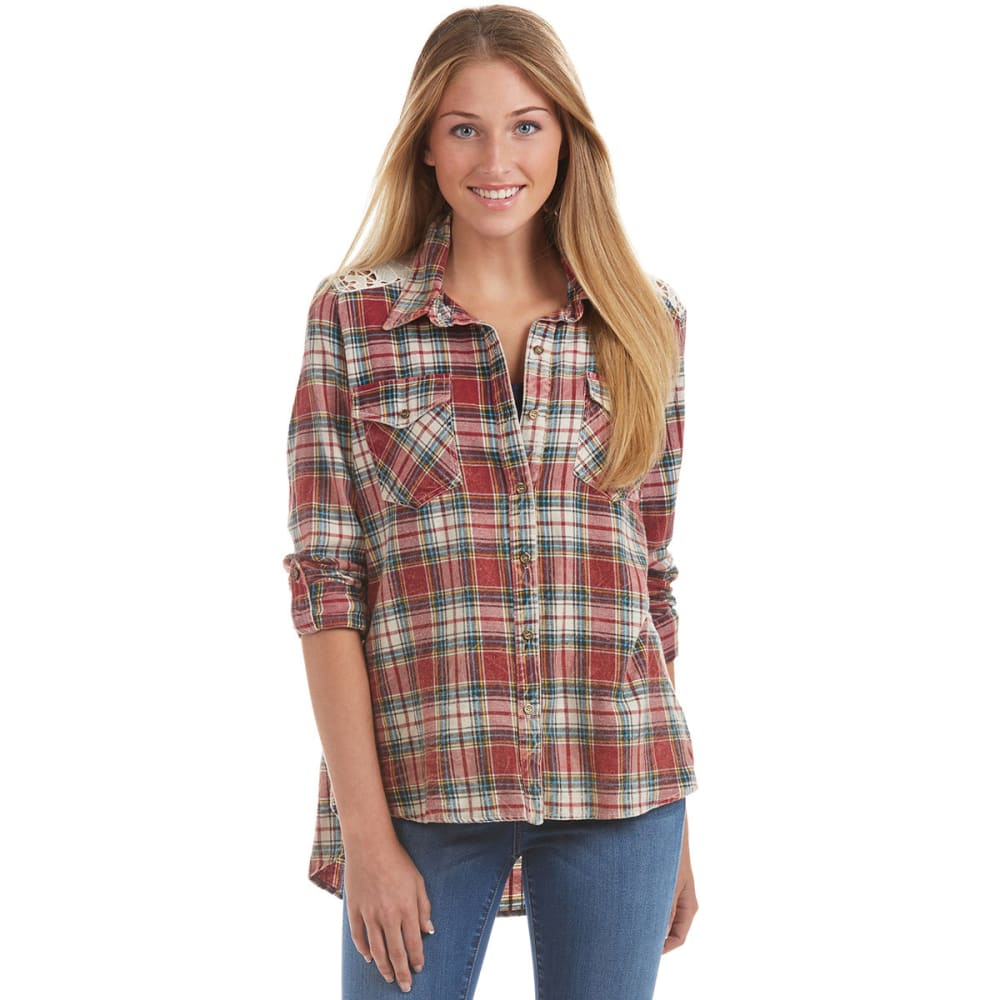 TAYLOR & SAGE Juniors' Plaid Button Down with Crochet Back - RED
