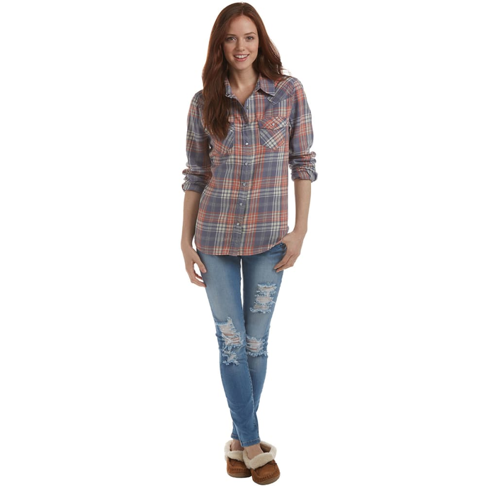 VANILLA STAR Juniors' Flannel Button Up - LAVENDAR BLUE