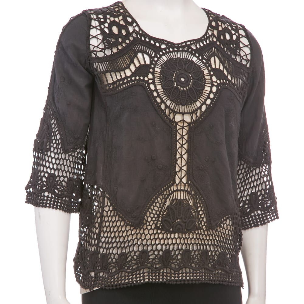 TAYLOR & SAGE Juniors' Crochet Embroidered Top - TAR