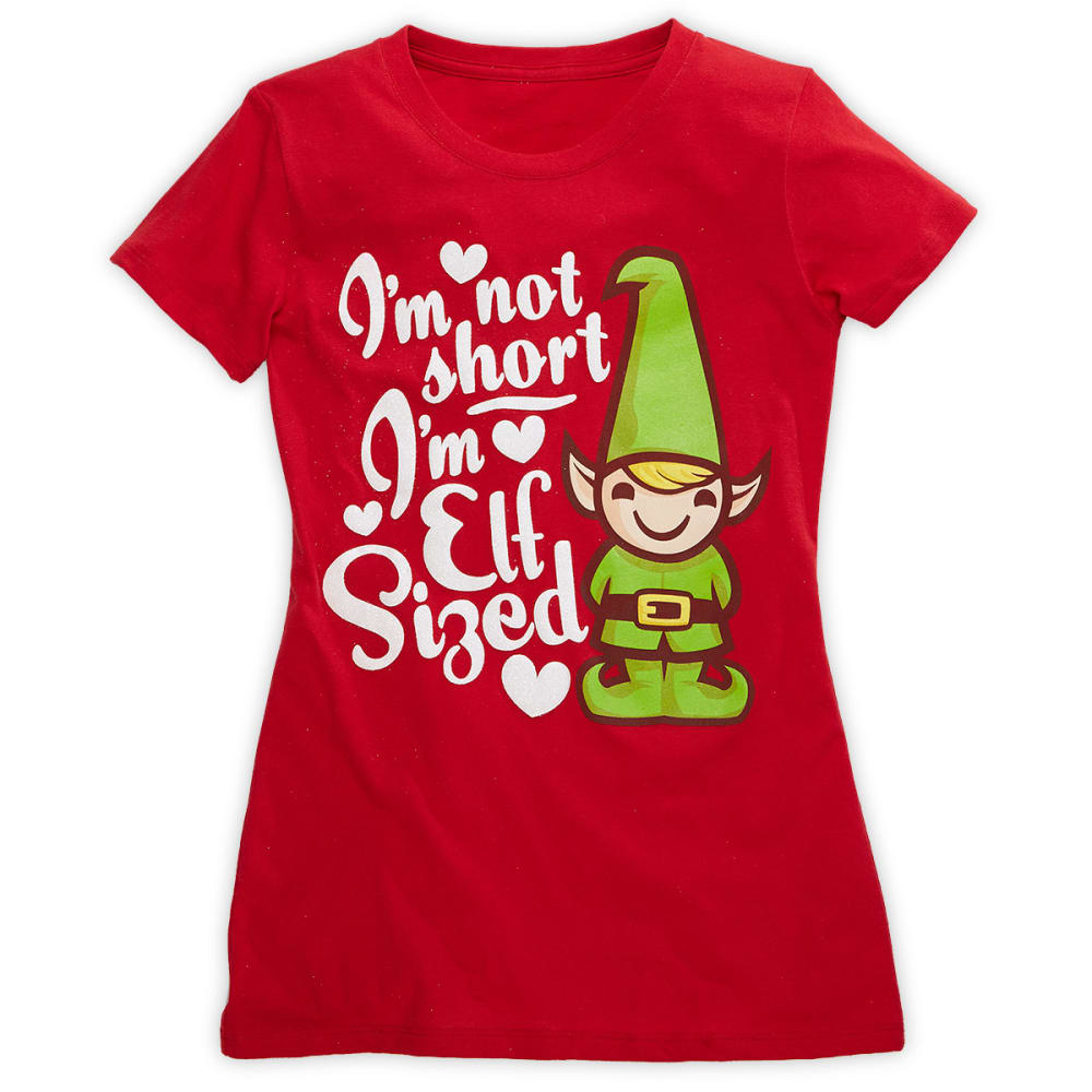 HYBRID Juniors' I'm Elf Size Screen Tee - RED