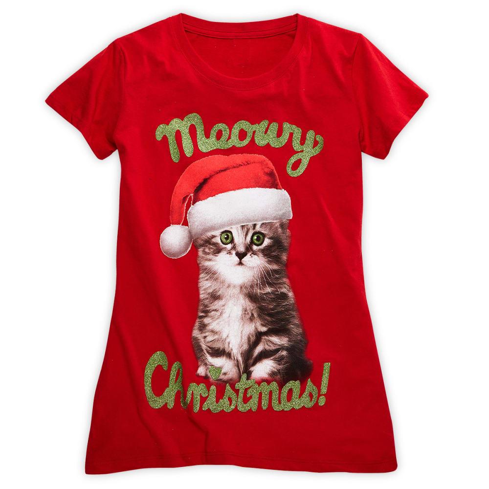 HYBRID Juniors' Meowy Christmas Screen Tee - BRIGHT RED