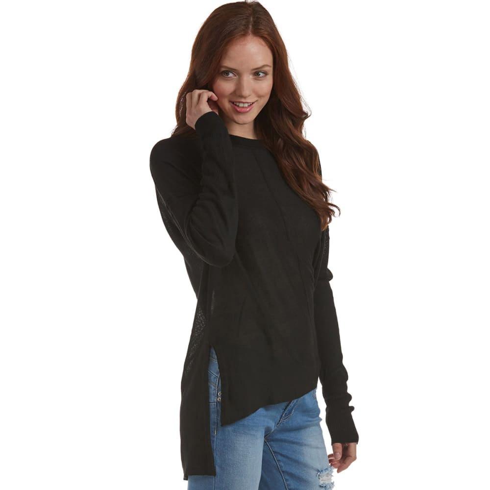POOF Juniors' Drop Shoulder Sweater - BLACK