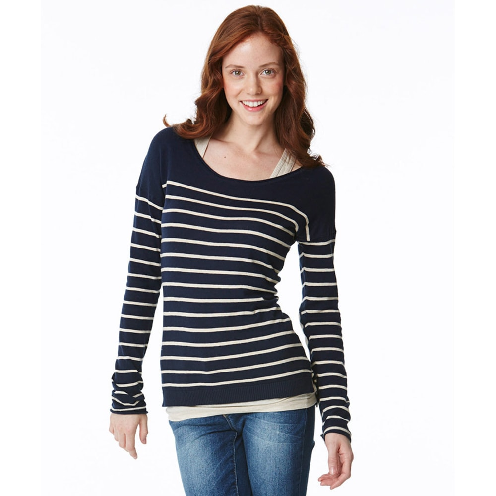 PINK ROSE Stripe Sweater with Elbow Patch - NAVY