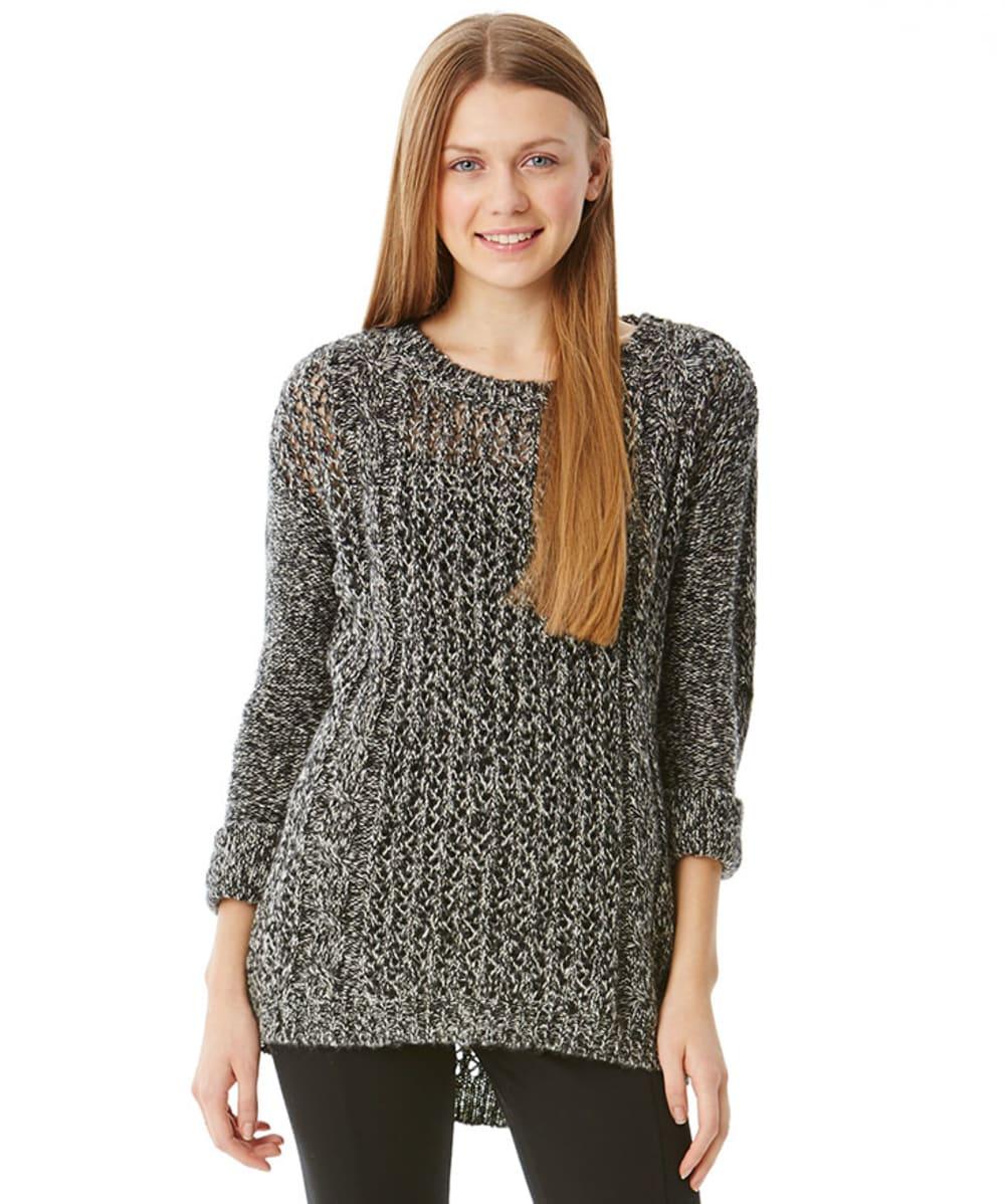 JJ BASICS Juniors' Cable Pointelle Sweater - BLACK