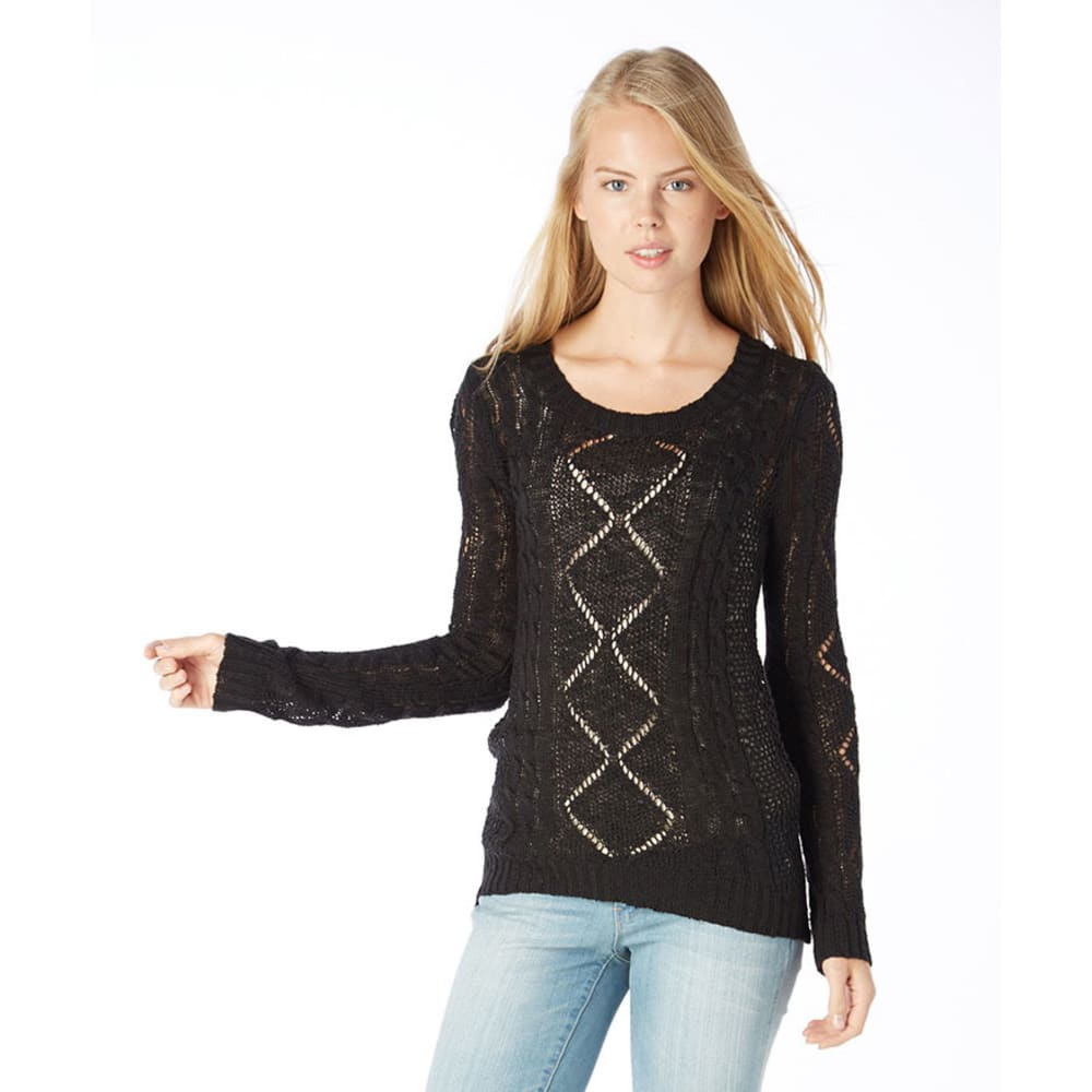 PINK ROSE Juniors' Pointelle Cable Sweater - BLACK