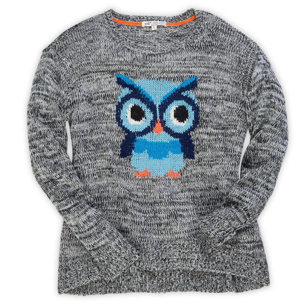 JOLT Juniors' Blue Owl Sweater - HEATHER GREY