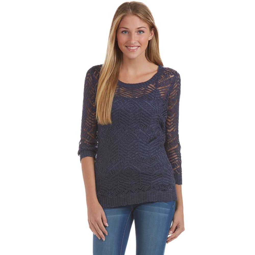 PINK ROSE Juniors' Pointelle 3/4 Sleeve Sweater - BLUE