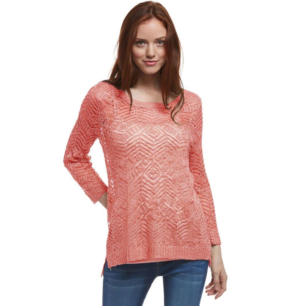 PINK ROSE Juniors' Pointelle 3/4 Sleeve Sweater - ROSE