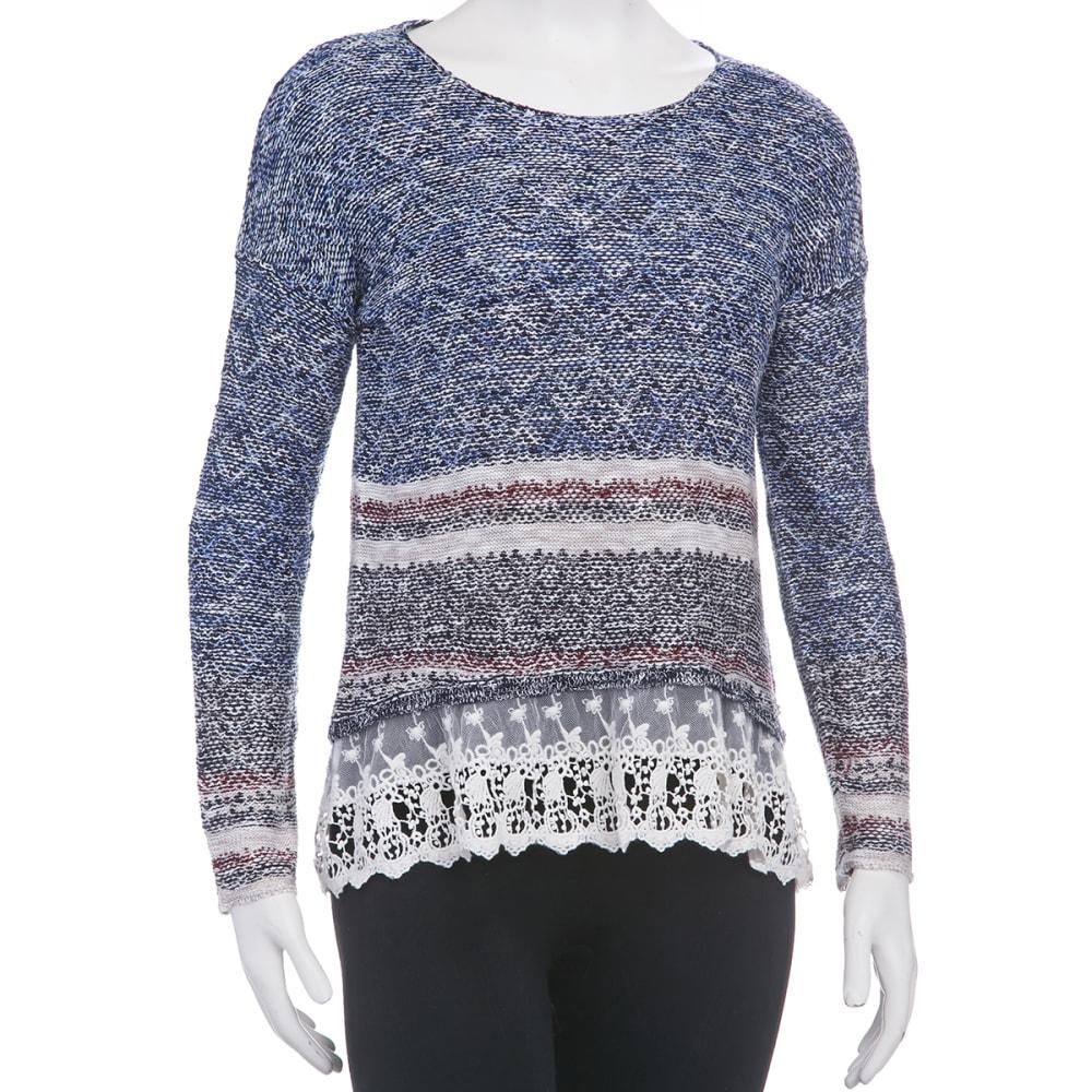 JOLT Juniors' Lace Hem Americana Stripe Sweater - ANCHOR BLUE